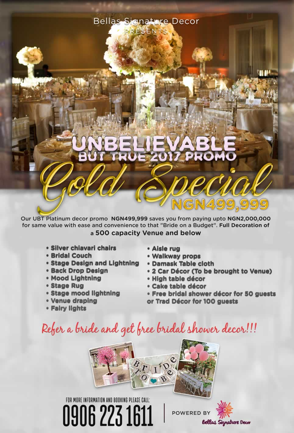 GOLD SPECIAL (500 GUESTS.) EVENT PACKAGE