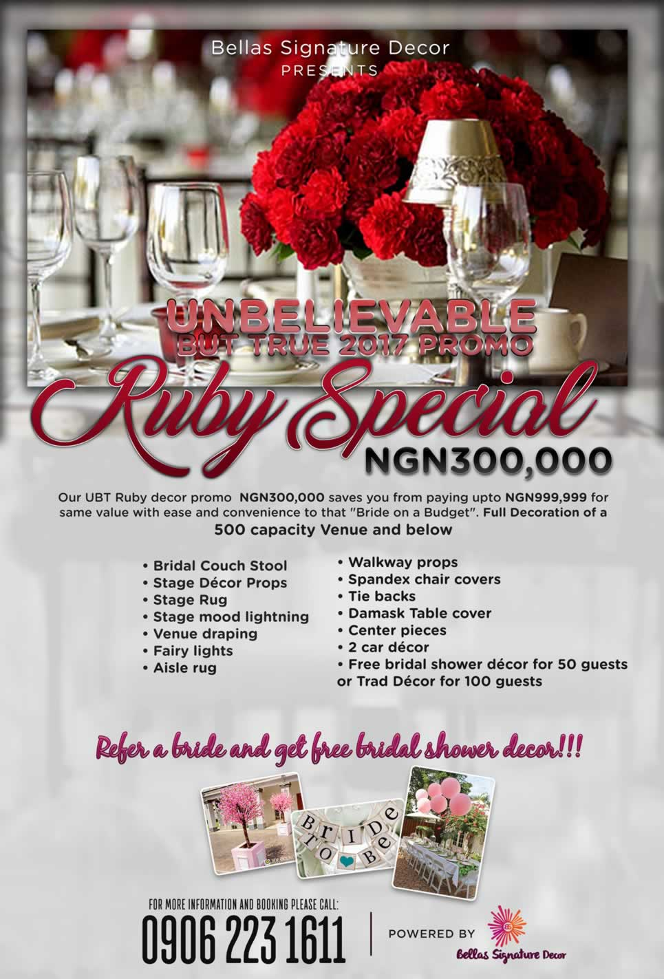 RUBY SPECIAL (500 GUESTS) EVENT PACKAGE